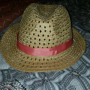 New Straw Fedora With Peach Band
